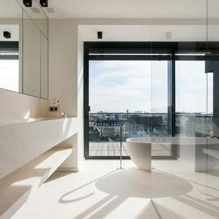 Salle de bain contemporaine avec un carrelage beige : Photos et ...