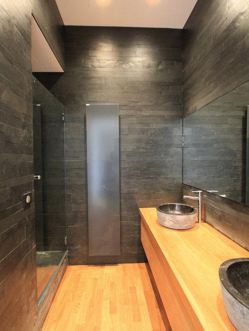 Salle d 39 eau avec un carrelage de pierre photos et id es d co de salles - Sol de douche en bois ...
