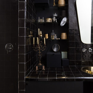 Inspiration for a medium sized eclectic shower room in Nantes with an alcove shower, black tiles, black walls and a submerged sink.