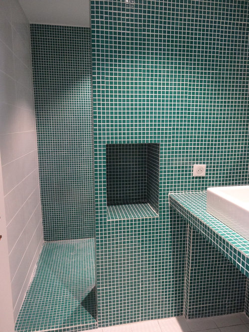 Mid sized trendy green tile and porcelain tile cement tile floor and white floor bathroom