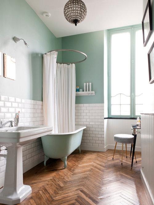 salle de bain avec un carrelage m tro photos et id es. Black Bedroom Furniture Sets. Home Design Ideas