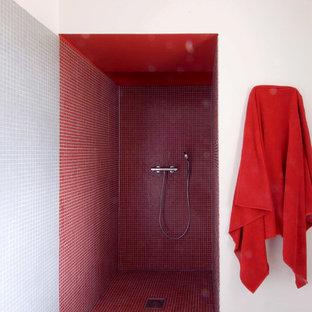 Foto di una grande stanza da bagno con doccia country con doccia alcova, piastrelle rosse, pareti bianche e pavimento con piastrelle a mosaico