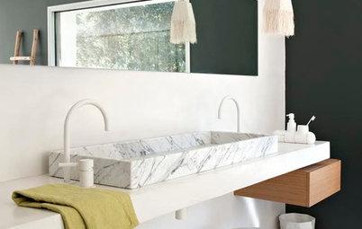 Tidlös marmor i badrummet – så plockar du in detaljerna