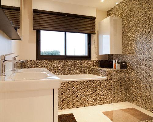 Salle De Bain Avec Carrelage En Mosaïque Photos Et Idées Déco De - Mosaique carrelage salle de bain