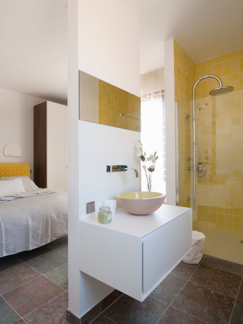 Medium sized bathroom with yellow tiles ideas designs for Bathroom ideas medium