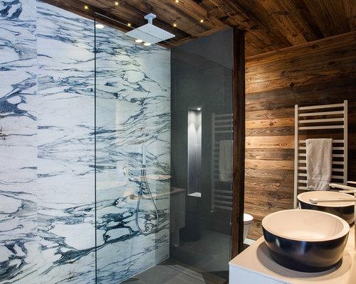 Rustikale badezimmer mit bodengleicher dusche ideen f r die badgestaltung houzz - Rustikale badezimmer ...