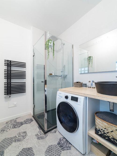 Salles de bains et wc contemporains france photos et for Cabine de douche avec wc et lavabo