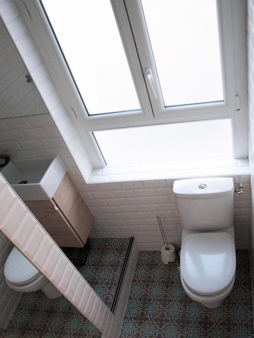 Popular Scandinavian Bathroom Designs White Wall Tiles Grey Floor Tiles