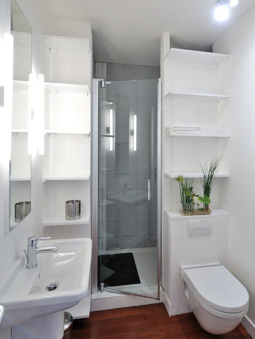 Small bathroom stand up shower houzz for Salle de bain amenagement petit espace
