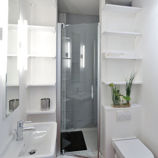 Inspiration For A Small Contemporary 3 4 Dark Wood Floor Alcove Shower Remodel In Paris