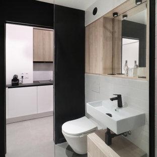 Modelo de cuarto de baño con ducha, rural, pequeño