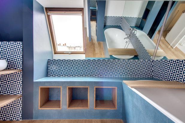Contemporain Salle de Bain by Anabel Messens Architecte