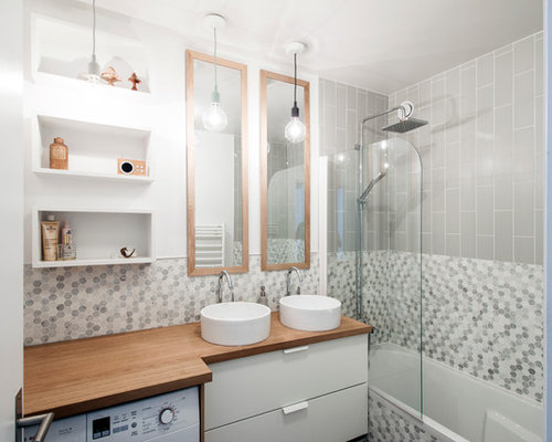 Inspiration For A Small Contemporary Master White Tile, Gray Tile And  Mosaic Tile Bathroom Remodel Part 51