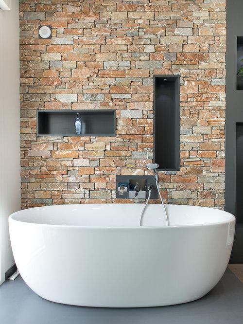 Salle de bain avec murs en pierre : Photos et idées déco