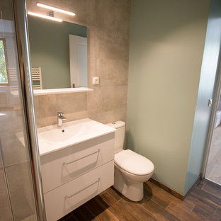 Inspiration for a small modern 3/4 gray tile and ceramic tile ceramic floor and brown floor walk-in shower remodel in Paris with white cabinets, a one-piece toilet, gray walls, a trough sink and a hinged shower door