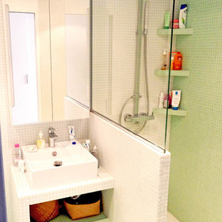 Small modern master bathroom in Paris with open cabinets, white tile and mosaic tile.