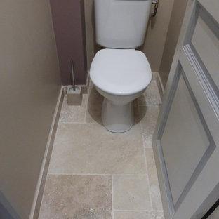 Photo of a medium sized mediterranean ensuite bathroom in Other with a built-in shower, beige tiles, travertine tiles, travertine flooring and beige floors.