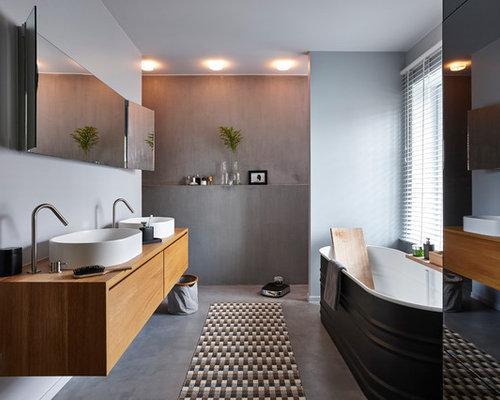 Salle de bain avec un sol en b ton photos et id es d co for Taille moyenne salle de bain