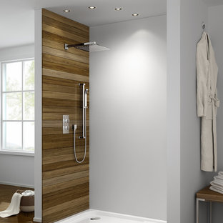 Inspiration for a contemporary bathroom in West Midlands with an open shower.