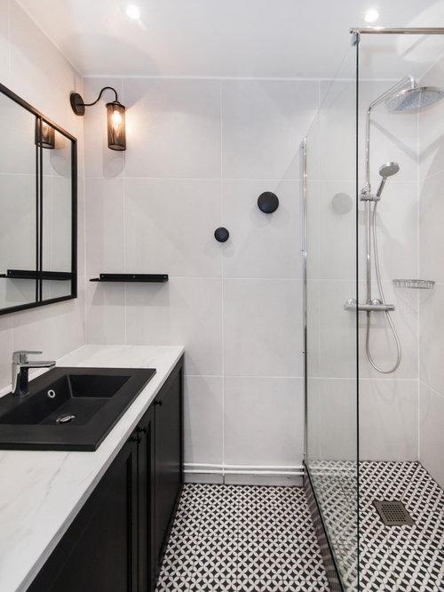 Salle de bain avec carrelage blanc et noir : Photos et idées déco