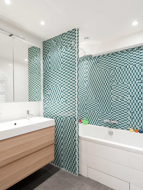 salle de bain avec carrelage en mosaïque : photos et idées déco de ... - Photo Salle De Bain Mosaique