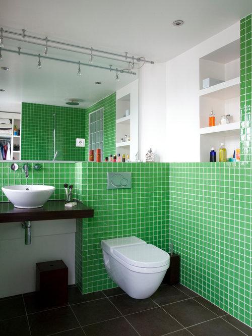 Salle d 39 eau avec une douche ouverte photos et id es d co de salles d 3 - Amenagement wc suspendu ...