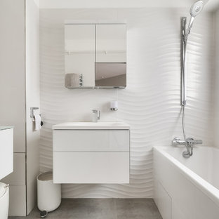 Example Of A Small Trendy Master Bathroom Design In Paris With Flat Panel  Cabinets,