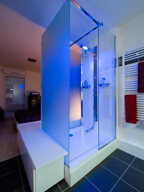 Salle de douche design par l 39 architecte d int rieur s verine kalensky - Eclairage led douche ...