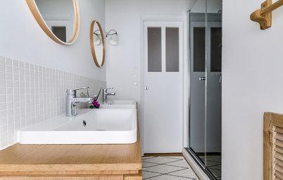 Avant/Après : Une salle de bains sous pente confortable dans 2 m²