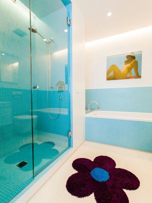 salle de bain avec un carrelage bleu photos et id es d co de salles de bain. Black Bedroom Furniture Sets. Home Design Ideas