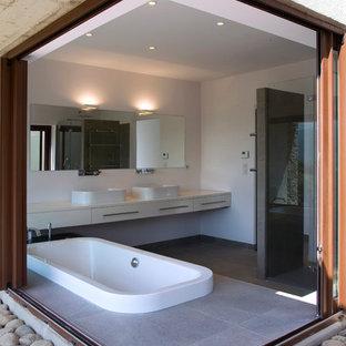 Inspiration Pour Une Salle De Bain Principale Design Avec Une Vasque, Un  Placard à Porte