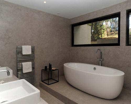 Salle de bain photos et id es d co de salles de bain - Salle de bain sol blanc ...