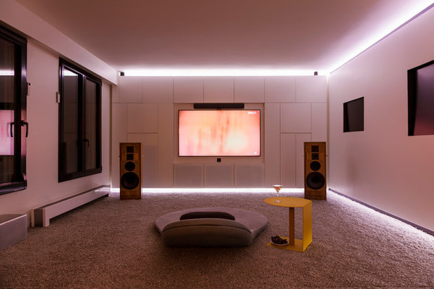 Contemporary Home Theater by Agence Glenn Medioni