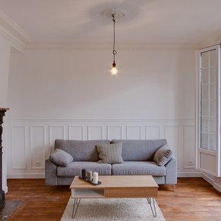 Inspiration pour une salle de séjour design avec un mur blanc, un sol en bois foncé et une cheminée standard.