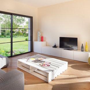 Cette image montre une salle de séjour design avec un mur beige, un sol en bois brun et un téléviseur indépendant.