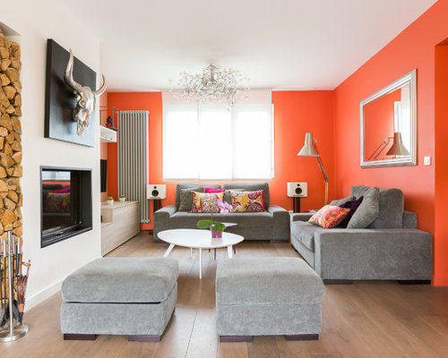 salle de s jour avec un mur orange photos et id es d co de salles de s jour. Black Bedroom Furniture Sets. Home Design Ideas