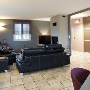 クレルモン・フェランの中サイズのトラディショナルスタイルのおしゃれなファミリールーム (グレーの壁、セラミックタイルの床、標準型暖炉、漆喰の暖炉まわり、コーナー型テレビ) の写真