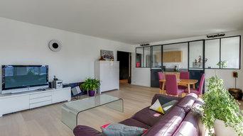 Aménagement intérieur avec verrière séjour/cuisine