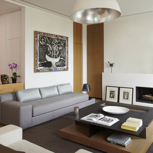 Example of a trendy family room design in Paris with white walls and a standard fireplace