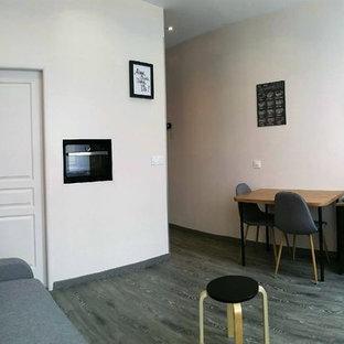 マルセイユの中サイズのインダストリアルスタイルのおしゃれなファミリールーム (ベージュの壁、塗装フローリング、暖炉なし、壁掛け型テレビ、グレーの床) の写真