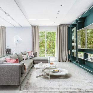 Cette image montre une salle de séjour design.