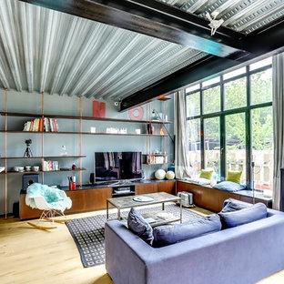 Idées déco pour une salle de séjour avec une bibliothèque ou un coin lecture industrielle de taille moyenne avec un sol en bois clair, un téléviseur indépendant et un mur multicolore.