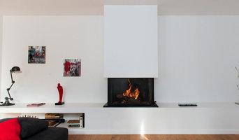 Cheminée design foyer ouvert 3 faces - Bruges