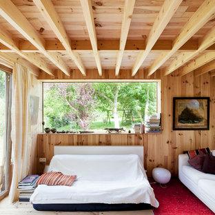 Пример оригинального дизайна: маленькая гостиная комната в стиле рустика с светлым паркетным полом