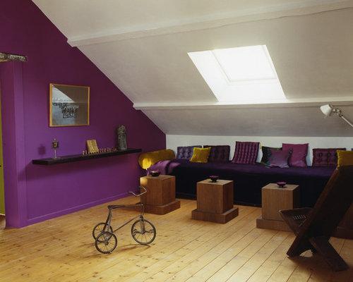 Salle de s jour avec un mur violet photos et id es d co for Decoration de salle de sejour