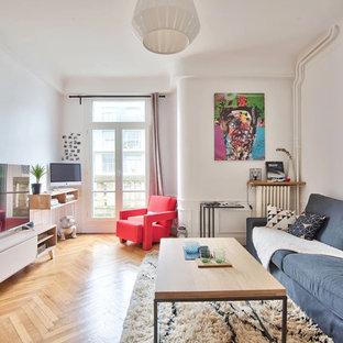 パリの中くらいのエクレクティックスタイルのおしゃれなオープンリビング (白い壁、据え置き型テレビ、ライブラリー、無垢フローリング、コーナー設置型暖炉、茶色い床) の写真