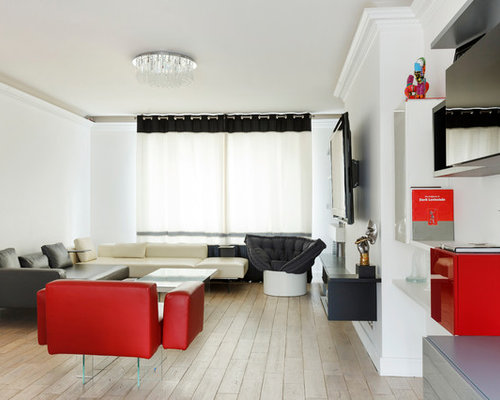 living noir rouge et blanc et chambre ensoleill e paris. Black Bedroom Furniture Sets. Home Design Ideas