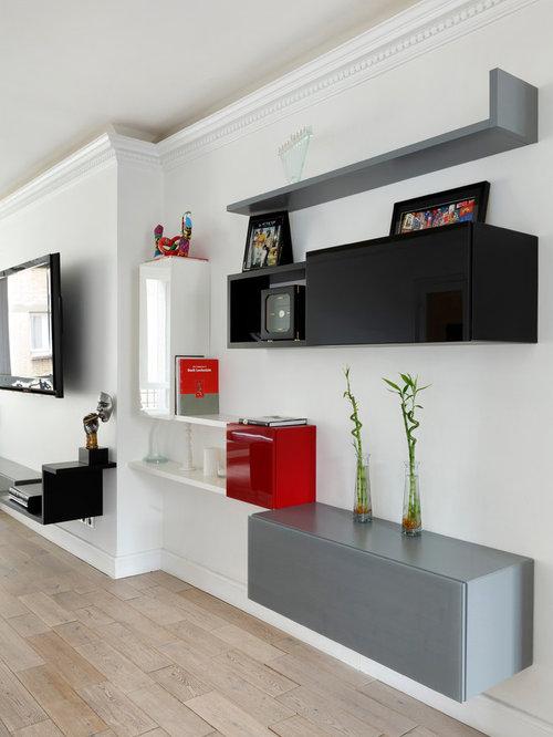 Living noir rouge et blanc et chambre ensoleill e paris - Chambre rouge et noir ...