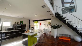Extérieur et intérieur de maison moderne