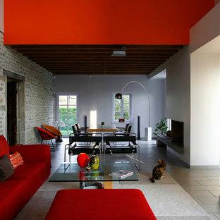 Family room - modern family room idea in Lyon
